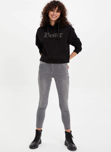 DeFacto Baskılı Kapüşonlu Sweatshirt Siyah